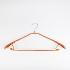 Вешалка-плечики для одежды Доляна, размер 46-48, антискользящее покрытие, широкие плечики, цвет бронзовый