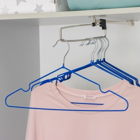 Вешалка-плечики для одежды Доляна, размер 40-44, антискользящее покрытие, цвет синий