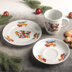 Набор подарочный «Снегири», тарелка d=17,5 см