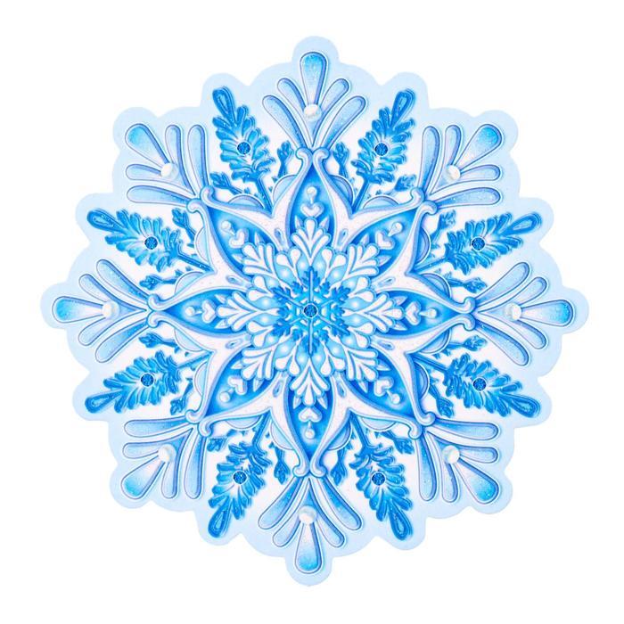 Украшение на скотче Снежинка 4 , глиттер