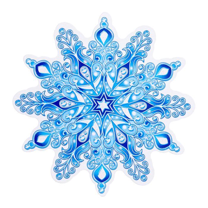 Украшение на скотче Снежинка 6 , глиттер