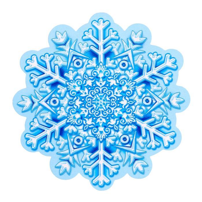 Украшение на скотче Снежинка 7 , глиттер
