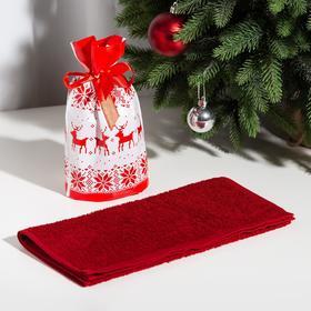 """Полотенце подарочное Экономь и Я """"Олени"""" 30*60 см, цв.бордовый, 100% хл, 320 г/м2"""