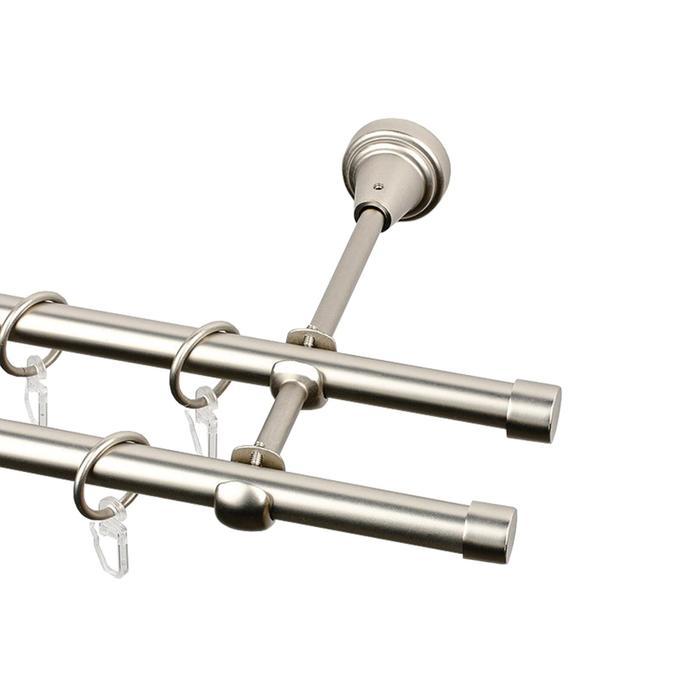 2-х рядный металлический карниз, цвет матовый никель, d=16 мм, 300 см
