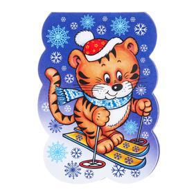 Закладка с магнитом 'Новогодняя' тигренок, лыжи Ош