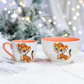 "Набор посуды ""Тигрята"", символ года 2022, бело-персиковая, керамика, 0.25/0.65 л"