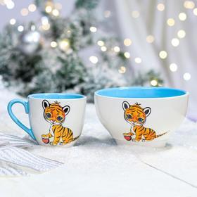 "Набор посуды ""Тигрята"", символ года 2022, бело-голубая, керамика, 0.25/0.65 л"