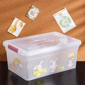 Контейнер для хранения с крышкой и ручкой «Kid's Box Игрушки», 10 л, 37,5×25,5×16 см, цвет розовый