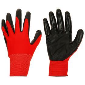 Перчатки нейлоновые с нитриловым покрытием ладони, размер XL (10), цвет красный/черный Ош