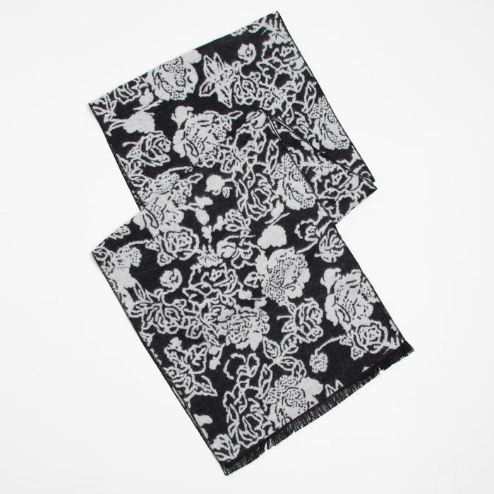 Шарф текстильный D469_15-2 цвет чёрно-белый, р-р 33180