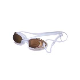Очки для плавания Atemi N9101M, силикон, цвет белый, оранжевый Ош