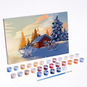 Картина по номерам на холсте с подрамником «Домик в зимнем лесу» 20х30 см