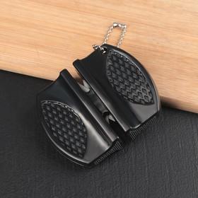Заточка для ножей, 7,5×6×2,5 см, с 2 отделениями для стальных и керамических ножей, МИКС