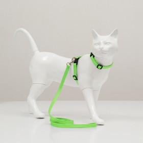 Комплект для кошек, ширина 1 см, ОШ 16,5-27 см, ОГ 21-35 см, поводок 120 см, зелёный Ош