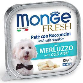 Влажный корм Monge Dog Fresh для собак, с треской, консервы, 100 г