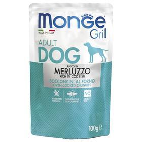 Влажный корм Monge Dog Grill для собак, треска, пауч, 100 г