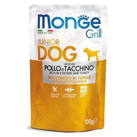 Влажный корм Monge Dog Grill Puppy&Junior для щенков, курица/индейка, пауч, 100 г