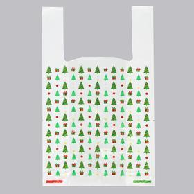 Пакет 'Ель с подарками', полиэтиленовый майка, 28 х 50 см, 12 мкм Ош