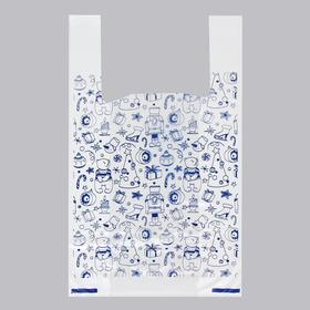 Пакет 'Новогодние игрушки', полиэтиленовый майка, 28 х 50 см, 12 мкм Ош