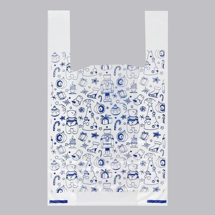 Пакет Новогодние игрушки, полиэтиленовый майка, 28 х 50 см, 12 мкм