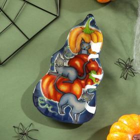 Блюдо сервировочное Доляна «Хэллоуин. Три кота», 20×11,2×1,8 см