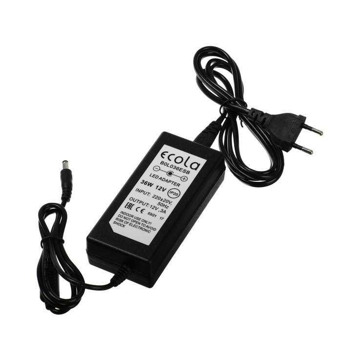 Адаптер питания для светодиодной ленты Ecola, 36 Вт, 220-12В, вилка