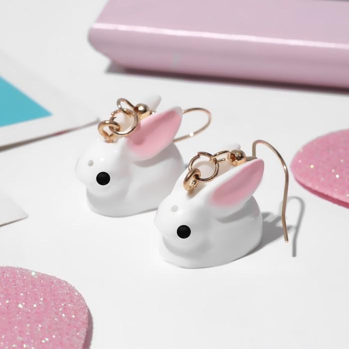Серьги детские Выбражулька зайчики, цвет бело-розовый в золоте