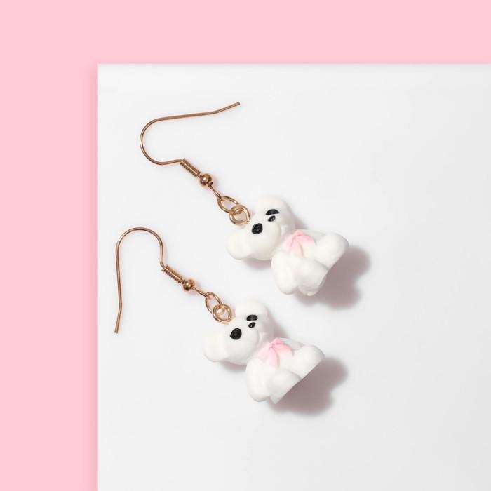 Серьги детские Выбражулька мишки, цвет бело-розовый в золоте