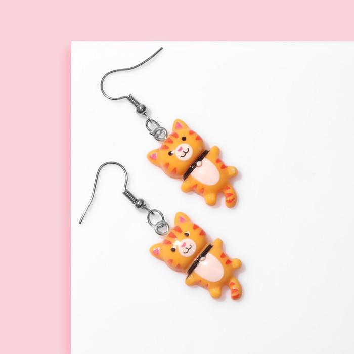 Серьги детские Выбражулька котята, цвет оранжевый в серебре