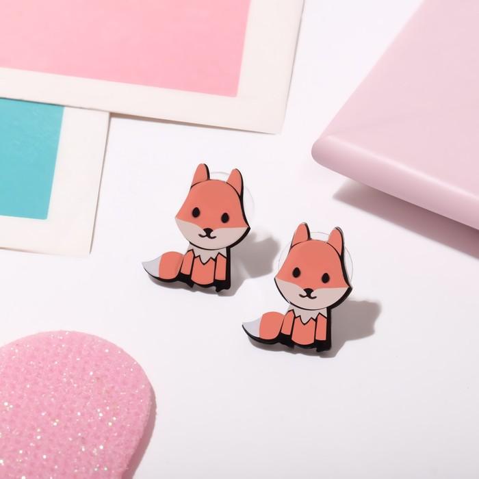 Пусеты детские Выбражулька лисички, цветные в серебре
