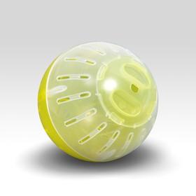 Шар для грызунов, 10 см, жёлтый/прозрачный (цветная крышка) Ош