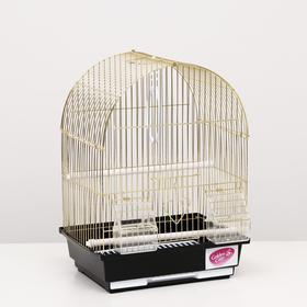 Клетка для птиц, укомплектованная, 30 х 23 х 39 см, золотая Ош