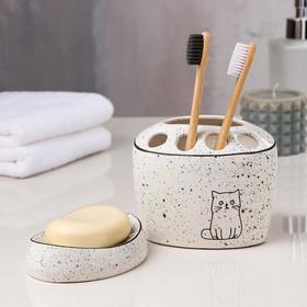 Набор для ванной «Котики», 2 предмета (подставка для щёток, мыльница), цвет белый, деколь микс Ош