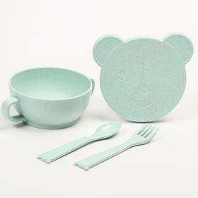 Набор детской ЭКО посуды: Миска с крышкой, ложка и вилка, цвет зелёный