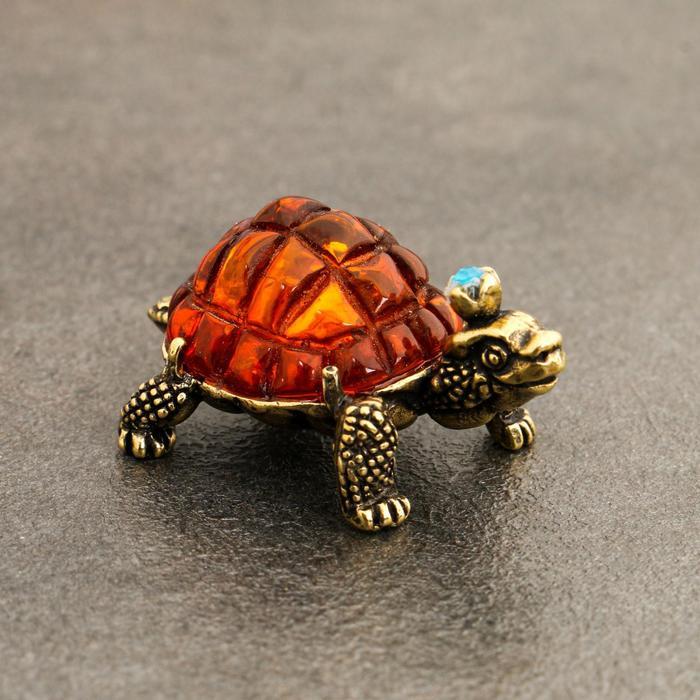 Сувенир Черепаха Тортилла, латунь, янтарь, 2,0х2,3х3,3 см