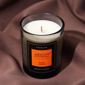 """Подарочный набор Areon Premium """"Gold Amber"""" (свеча ароматическая, открытка, спички)"""