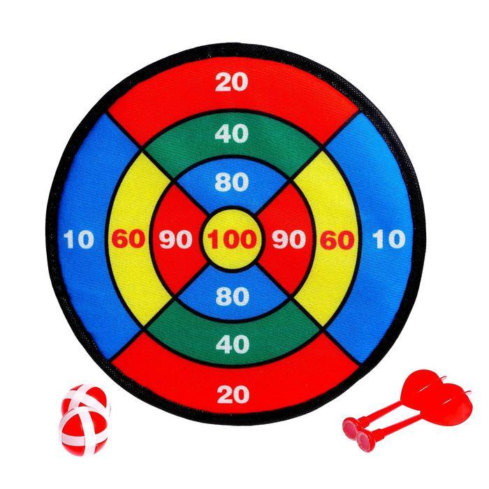 Дартс на липучке «Меткий бросок», 2 дротика, 2 шарика, d=30 см
