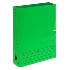 Папка архивная А4 на завязках, 75мм, зеленая