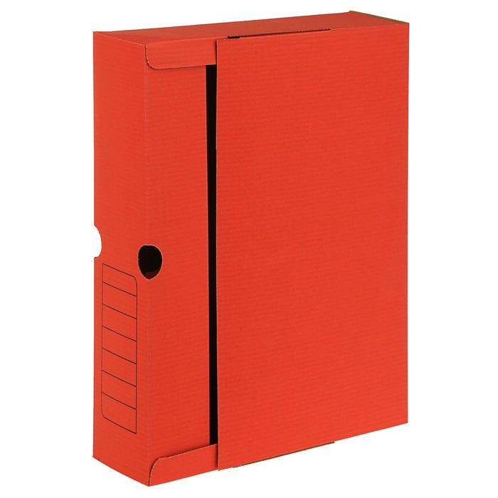 Короб архивный А4, 75мм, микрогофрокартон, картонный клапан, красный
