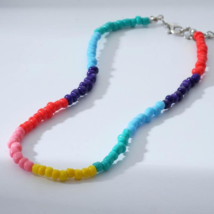 Колье Бисер радуга, цветное, 30 см