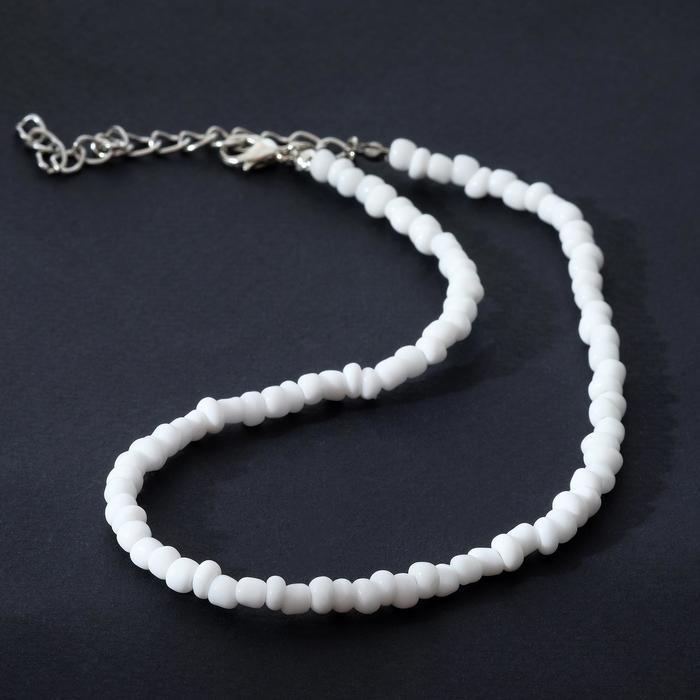 Колье Бисер снег, цвет белый, 30 см