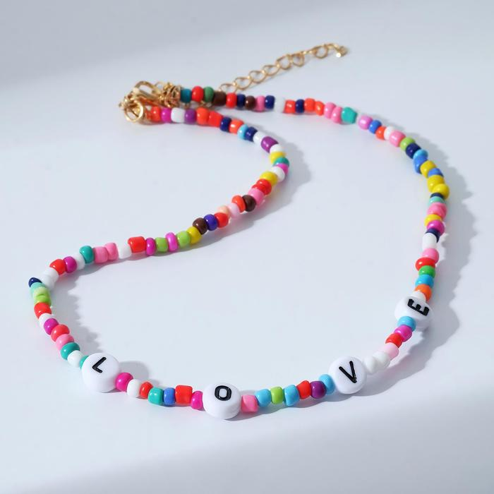 Колье Бисер love, цветное, 30 см
