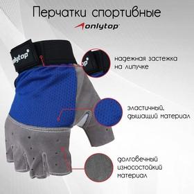 Перчатки спортивные, размер M, цвет синий Ош