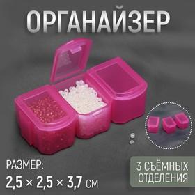 Органайзер для хранения мелочей, 3 съёмных отделения, 2,5 × 2,5 × 3,7 см, цвет МИКС Ош