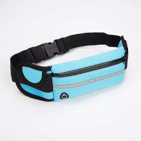 Сумка поясная для бега, отдел на молнии, светоотражающий материал, цвет голубой