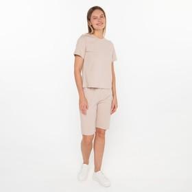 Комплект (футболка/дл.шорты) женский, цвет беж, размер 52 Ош