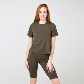 Комплект (футболка/дл.шорты) женский, цвет хаки, размер 48 Ош