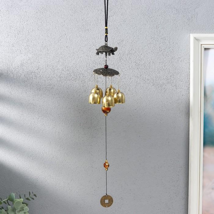 Музыка ветра металл Черепаха на монетках 5 колокольчиков 41х6 см
