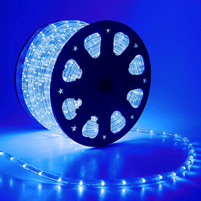 LED шнур 11 мм, круглый, 92 м, фиксинг, 2W-LEDм-24-220V в компл. набор дподкл, СИНИЙ