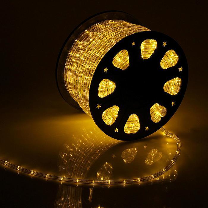 LED шнур 11 мм, круглый, 92 м, фиксинг, 2W-LEDм-24-220V, в компл. набор дподкл, ЖЕЛТЫЙ